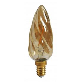Ampoule LED 2W Flamme torsadée Ambrée E14