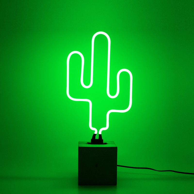 lampe n on cactus socle b ton locomocean comptoir des lustres. Black Bedroom Furniture Sets. Home Design Ideas