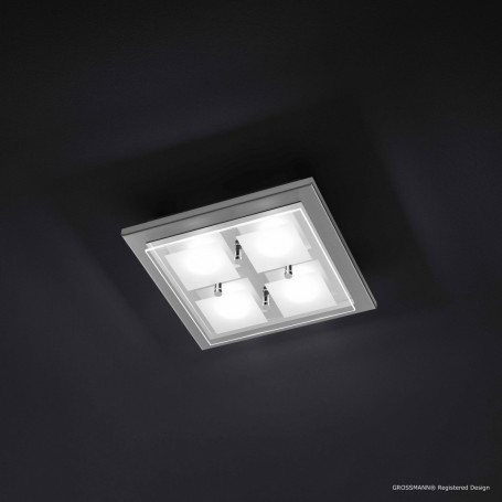 Plafonnier 4 lampes Domino LED Nickel mat